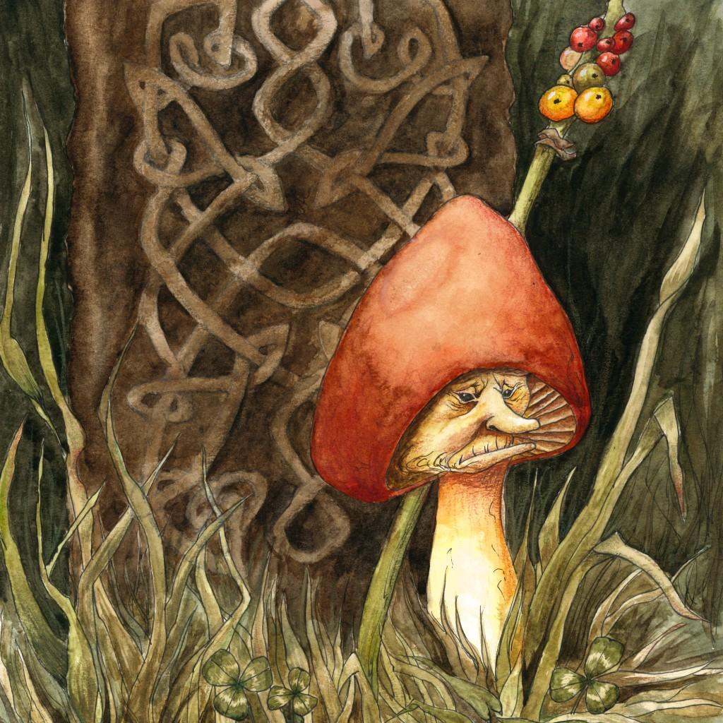 Wax cap mushroom painting