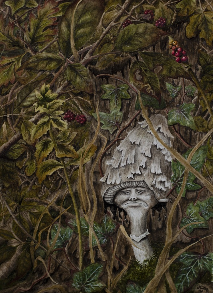 Shaggy Ink Cap Mushroom Painting