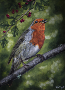 Robin bird painting by Jessica Hilton