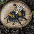 Oak, fly agaric and bumblebee paintings on blackthorn wood slices
