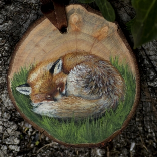 Sleeping fox painting on a willow wood disc