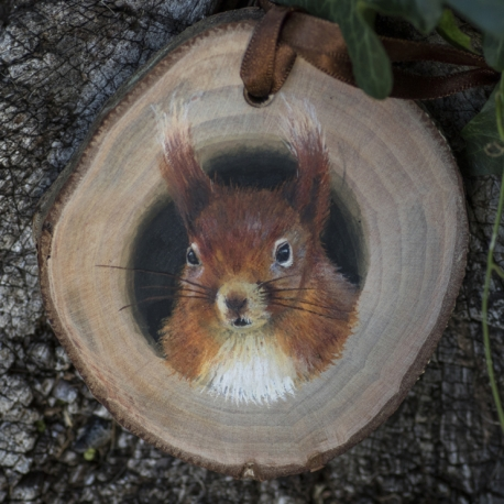 Red squirrel painting on a willow wood slice