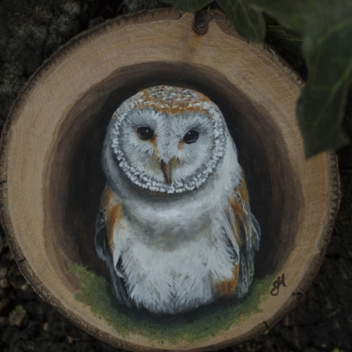 Barn owl painting on a willow wood slice