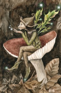 Pixie in Mushroom painting by Jessica Hilton