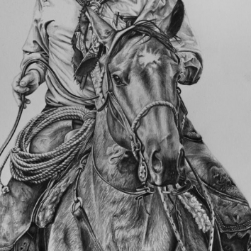 Cowboy horse drawing by Jessica Hilton