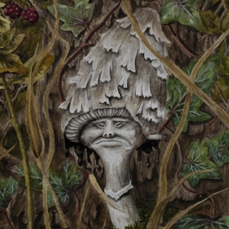 Painting of mushroom in a hedgerow by Jessica Hilton